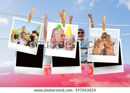 Composite image of instant photos hanging on a line against cheering couple in convertible - stock photo
