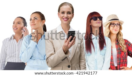 Composite image of laughing stylish businesswoman holding smartphone