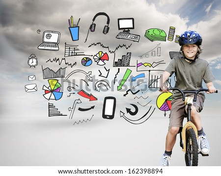 Composite image of little boy with his bike during the summer in a park - stock photo