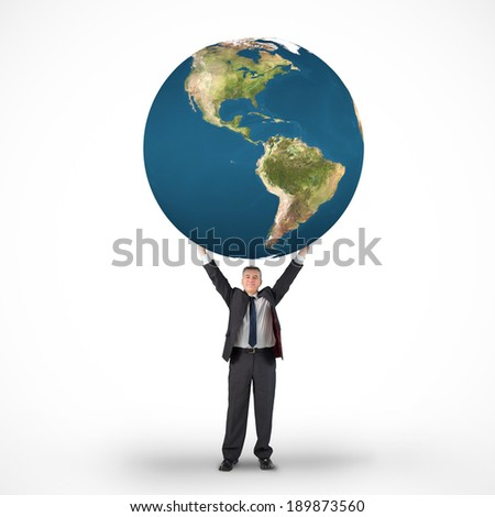 Composite image of mature businessman holding globe against white background with vignette, elements of this image are furnished by NASA - stock photo