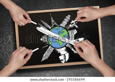 Composite image of multiple hands drawing airplane with chalk on blackboard - stock photo