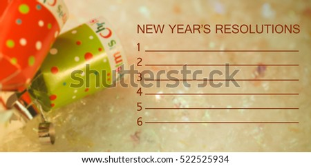 Composite image of new years resolution and decoration