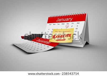 Composite image of new years resolutions on january calendar - stock photo