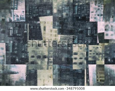 Composite image of New York City. Color pencil imitation - stock photo