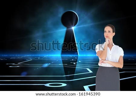 Composite image of pensive elegant businesswoman posing