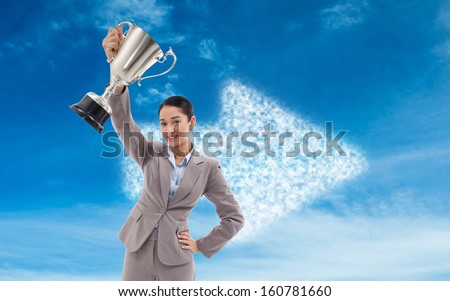 Composite image of portrait of a businesswoman showing a cup
