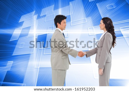 Composite image of side view of hand shaking trading partners against