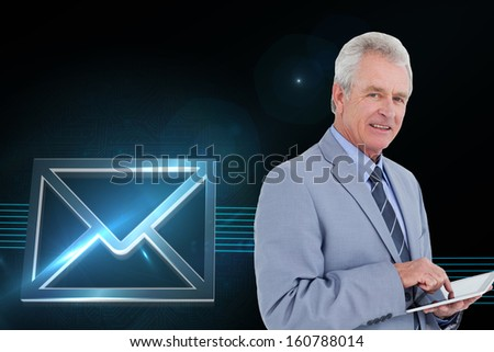 Composite image of side view of mature tradesman with tablet computer  - stock photo