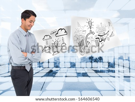 Composite image of smiling asian businessman - stock photo