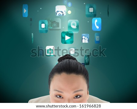 Composite image of smiling asian businesswoman - stock photo