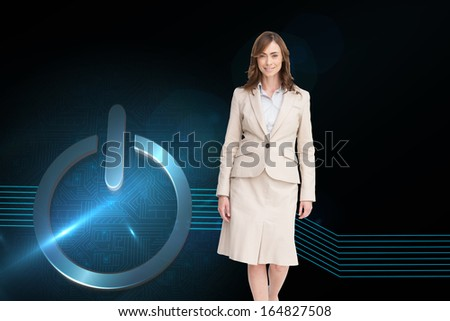 Composite image of smiling brunette businesswoman walking
