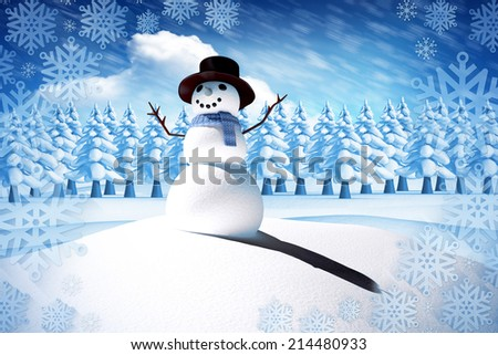 Composite image of snow man against bright blue sky with clouds