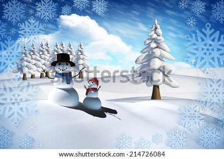 Composite image of snow man family against bright blue sky with clouds