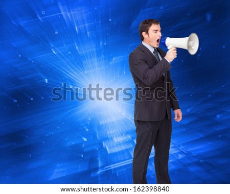 Composite image of standing businessman shouting through a megaphone  - stock photo