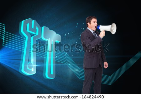 Composite image of standing businessman shouting through a megaphone agaisnt white