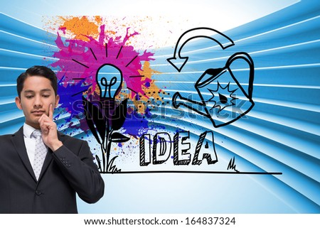 Composite image of thoughtful asian businessman pointing - stock photo