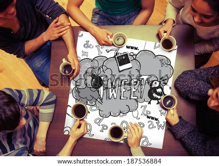 Composite image of tweet doodles on page with people sitting around table drinking coffee - stock photo