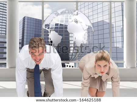 Composite image of two business people ready to start a race - stock photo