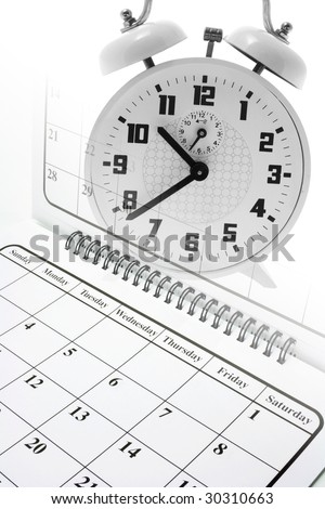 Composite of Calendar and Alarm Clock - stock photo