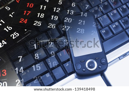 Composite of Calendar, Smart Phone and Laptop - stock photo