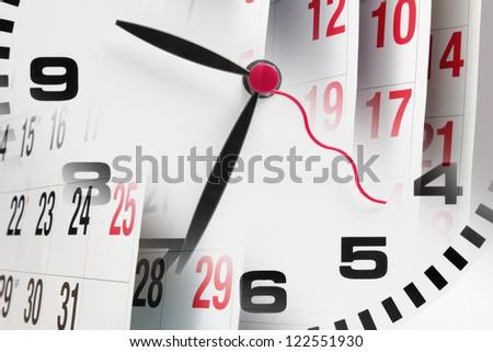 Composite of Clock and Calendar - stock photo