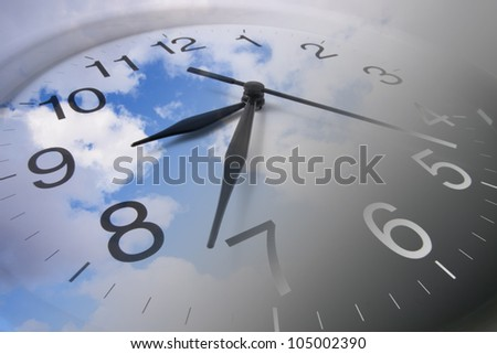 Composite of Clock and Clouds - stock photo