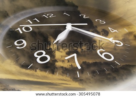 Composite of Clouds and Clock - stock photo