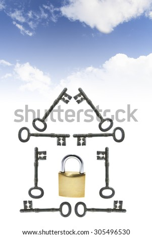 Composite of Clouds with Keys and Padlock - stock photo