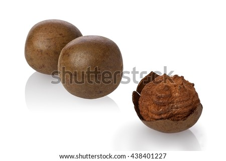 Composite of dried monk fruit, or luo han guo, against a white background.