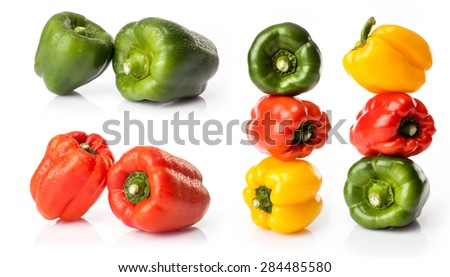 composite of fresh chili pepper    isolated on white background