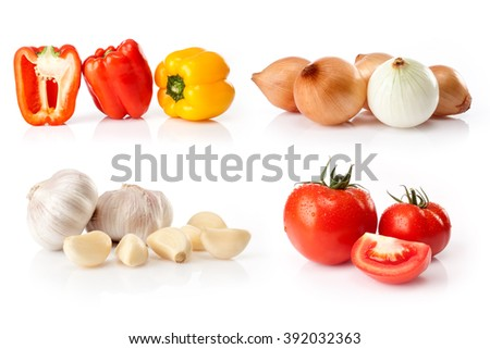 composite of fresh vegetables isolated on white background
