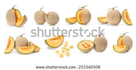 composite of Japanese yellow melon fruit  isolated on white background - stock photo