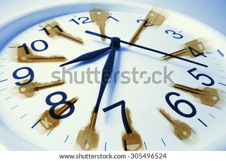 Composite of Keys and Clock - stock photo