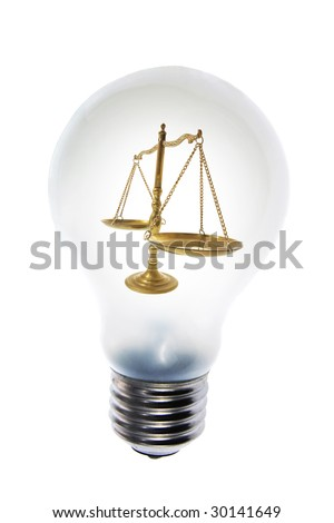 Composite of Light Bulb and Brass Scale - stock photo