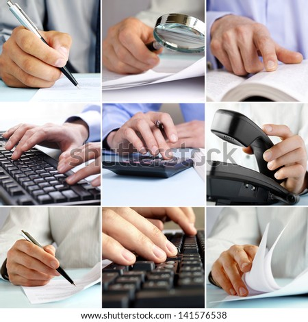Composite of nine close-up images of businessmen hands working on the office using using modern and old technologies like computers, calculators, paper documents, pens and magnifying glasses