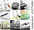 Composite of nine close-up images of office themes showing real office objects like phones and pens and conceptual business objects like a compass and money - stock