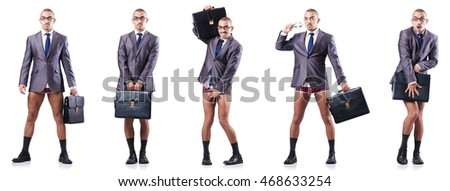 Composite photo of naked businessman on white