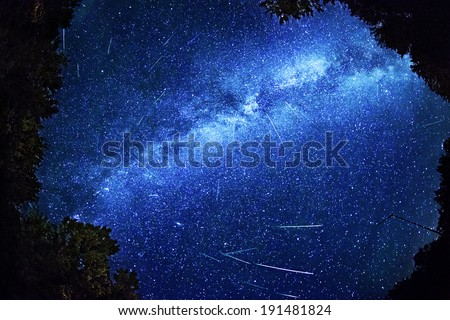 Composite Photo of Perseid meteor activity of 12/08/2013 from 2:28 - 3:32am, at Bracebridge, Ontario. Image contains grain due to the high ISO and long exposure required for this type of photography.  - stock photo