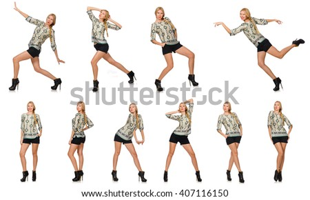 Composite photo of woman in various poses - stock photo