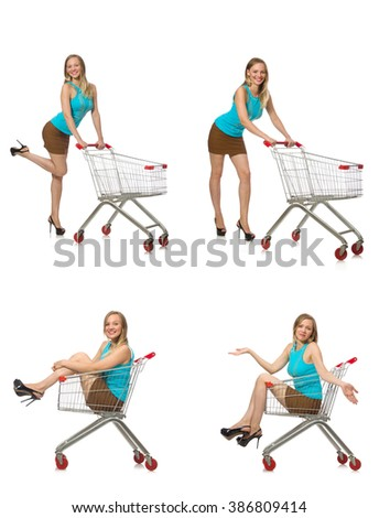 Composite photo of woman with shopping basket