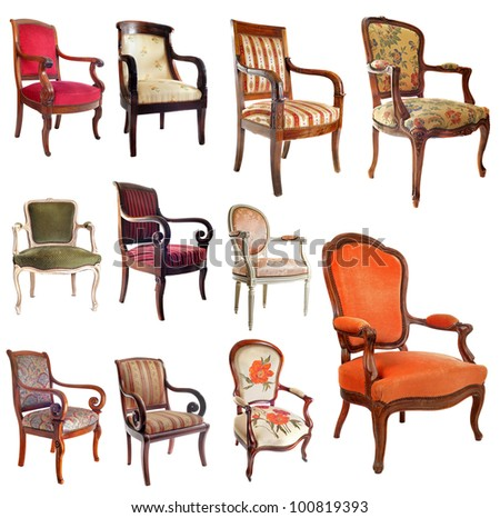 composite picture with antique chairs in front of white background - Antique Chair Stock Images, Royalty-Free Images & Vectors