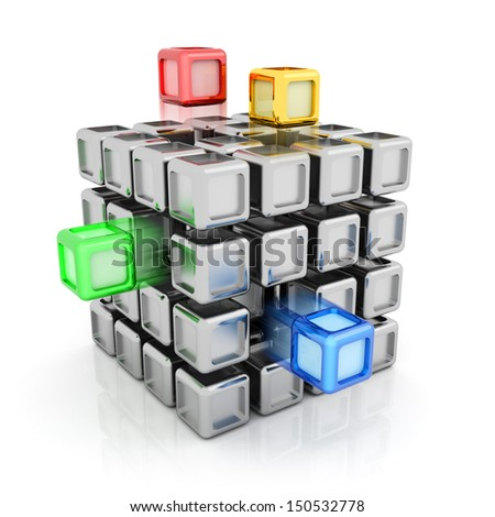 Composite silver cube with some colorful elements - stock photo