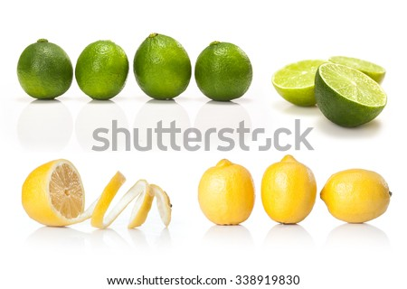 composite with Green lime and yellow lemon isolated on white background