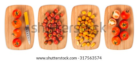 composite with many different varieties of ingredients on a wooden board  - stock photo