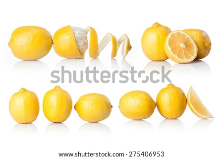 composite with yellow lemon  isolated on white background