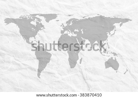 composition concept. Grey on the world map background white paper grunge. - stock photo