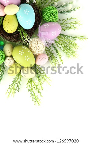 Composition for Easter isolated on white - stock photo