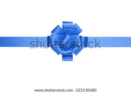 composition for present or gift with blue ribbon bow, isolated on white - stock photo
