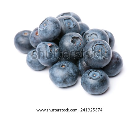 composition from a fresh bow blueberry  on the white isolated background  - stock photo