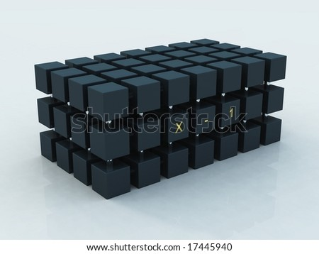Composition from black plastic cubes and metal cylinders